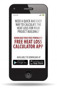 Smart phone displaying Heat Loss Calculator app